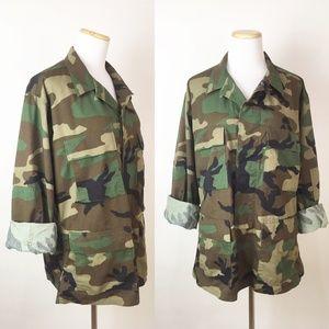 VTG US Army Camouflage Jacket Military Camo Print